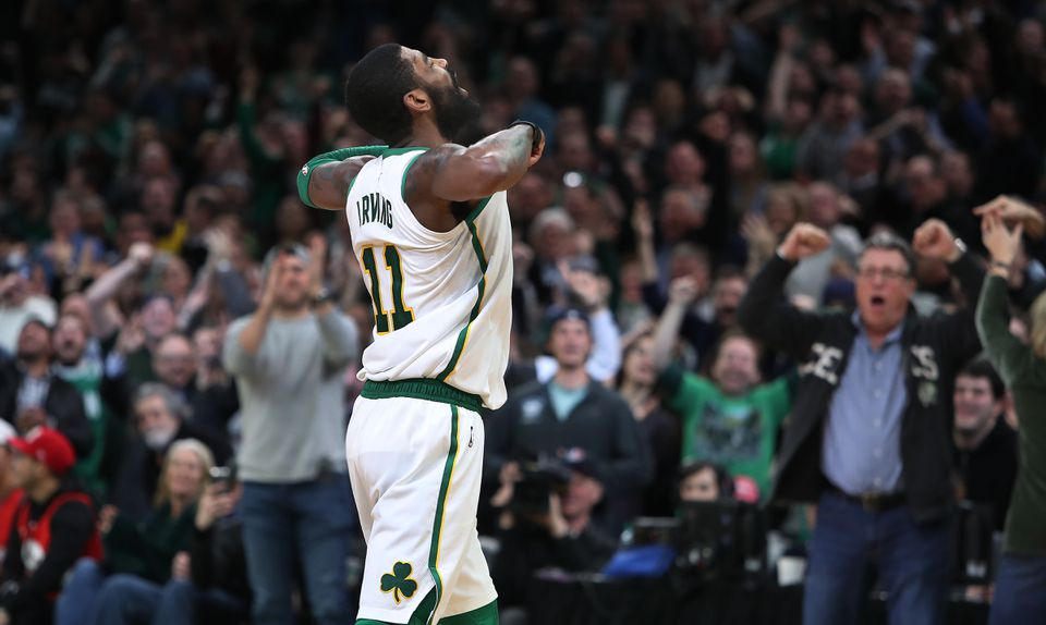 Kyrie Irving was full of team spirit while pulling the Celtics past the Raptors Wednesday night.