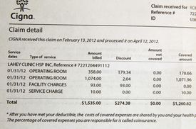 A photo of the bill that Robert Reed received from Lahey Clinic for the use of an operating room he didn't visit.