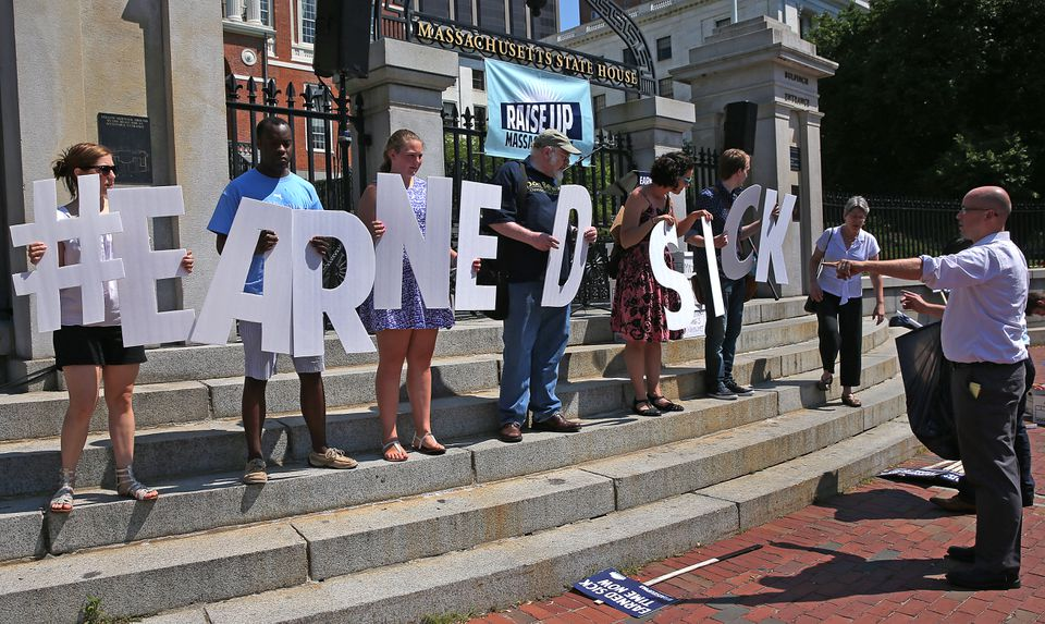 Supporters of the sick time ballot question rallied at the State House June 30.