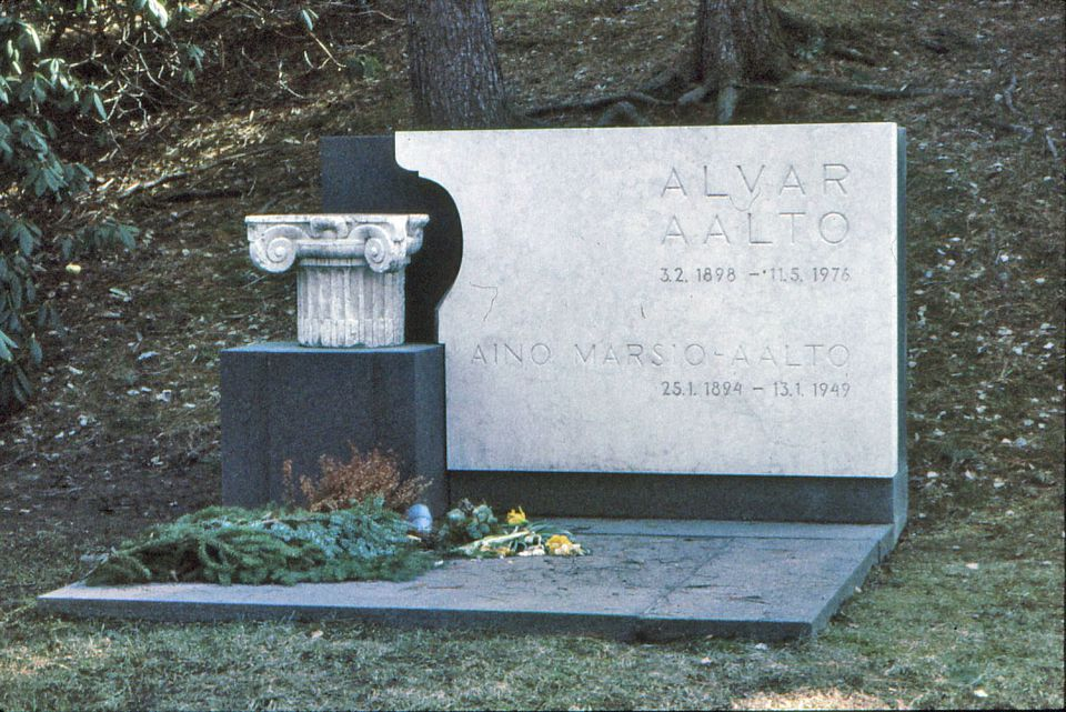 <b>Alvar Aalto, 1989-1976</b>: A former professor at the Massachusetts Institute of Technology, Aalto designed Baker House, an MIT dormitory acclaimed for its serpentine brick walls and its unique use of wood. His grave marker, in his native Finland, is imposing but elegant. It was designed by his second wife, Elissa, who was also an architect.