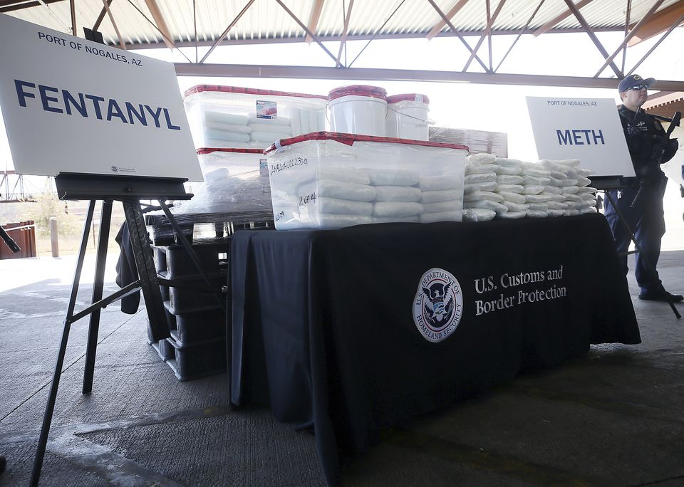 A display of the fentanyl and meth seized by Customs and Border Protection officers over the weekend in Arizona.