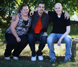 Pediatric brain cancer survivors (from left) Katie Nickerson, Bernard Manning, and Jack Coates.