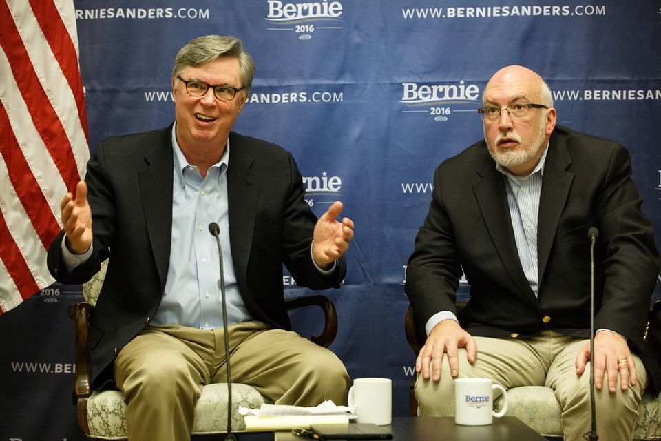 Tad Devine (left) and Jeff Weaver, advisers to Bernie Sanders' campaign, spoke with reporters during a news conference after Super Tuesday.