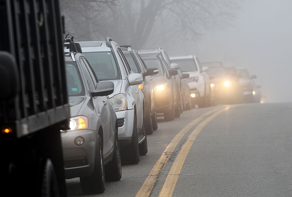 Vehicles were backed up in Leicester on Monday with customers for the Cultivate marijuana store.