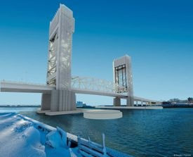 An architectural rendering shows the proposed new Fore River Bridge, a vertical-lift design with a pair of tall towers.