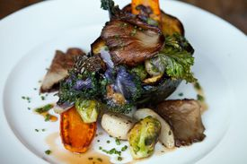 """The """"Roast Autumn Squash"""" entree served at Farmstead Table in Newton."""
